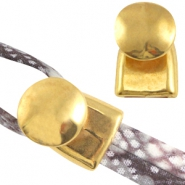 DQ metal end cap/clasp (for 2x5mm wire/leather) Gold (nickel free)