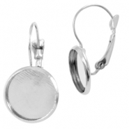 Metal earrings for 12mm cabochon Silber
