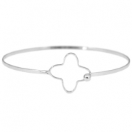 Metal bracelet with clasp flower Silver