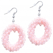 Fancy faceted beads earrings Light rose opal