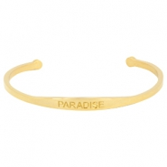 "Stainless steel bracelet with quote ""PARADISE"" Gold"