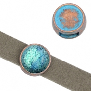 DQ sliders setting for 12mm cabochon (for 10mm DQ flat leather) Copper blue patina (nickel free)