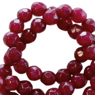 Natural stone round faceted beads 4 mm Port red