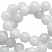 8mm crackled opal glass beads Light grey