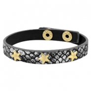 Bracelets reptile with studs gold star Metallic black silver