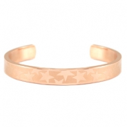 Open stainless steel bracelet with star pattern Rose gold