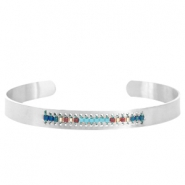 Open stainless steel bracelet with Miyuki beads Silver-Turquoise blue