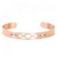 Open stainless steel bracelet with Miyuki beads Rose gold-Turquoise