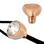 Endcaps DQ metal (Ø4mm) with setting for Rivoli chatons 12mm Rose gold (nickel-free)