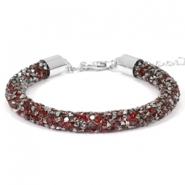 Crystal diamond bracelets 7mm Siam red-anthracite
