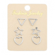 Earrings heart, star & triangle Silver