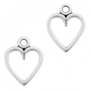 DQ metal charms open heart 14x11mm Antique silver (nickel free)