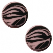 12mm flat Polaris Elements cabochon zebra Taupe brown
