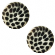 12mm flat Polaris Elements cabochon leopard Light silver shade