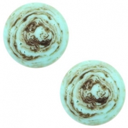 12mm flat Polaris Elements cabochon stone look Turquoise-brown