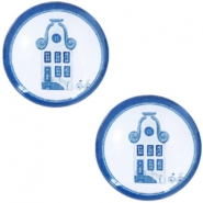 Basic Delft blue cabochon 20mm house White-blue