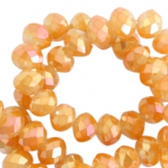 Top faceted beads 4x3mm disc Topaz gold-diamond shine coating