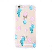 Trendy phone cases for Iphone 7 Plus cactus & flowers Transparent-blue pink