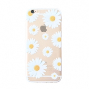 Trendy phone cases for Iphone 7 Plus daisies Transparent-white yellow