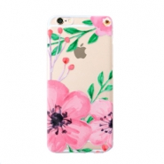 Trendy phone cases for Iphone 7 flower Transparent-pink green