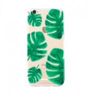 Trendy phone cases for Iphone 6 palm leaf Transparent-green