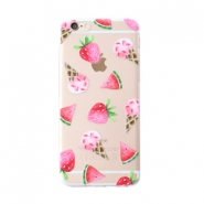 Trendy phone cases for Iphone 6 icecream & fruit Transparent-pink green