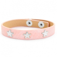 Trendy bracelets reptile with studs silver star Dusty pink