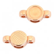 Round DQ metal settings/sliders 2 loops for SS34 flatback stone Rose gold (nickel free)