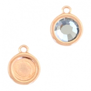 Round DQ metal settings 1 loop for SS30 flatback stone Rose gold (nickel free)
