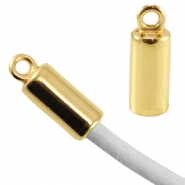 DQ metal end cap for 3mm leather/wire Gold (nickel free)