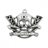 TQ metal charms skull rock star Antique silver