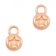 Charms DQ metal round 6mm star Rose gold (nickelfree)