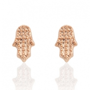 Trendy earrings studs Hamsa hand Rose Gold