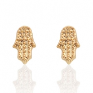 Trendy earrings studs Hamsa hand Gold