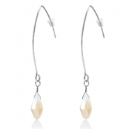 Trendy earrings with drop shaped faceted pendant Silver-Cream Beige Half Topaz Pearl Shine Coating