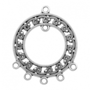 DQ metal charms round with 7 loops Antique Silver (nickel free)