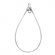DQ Metal findings dropshaped charm with 2 loops Silver (nickel free)