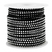 Faux suede with rhinestones 3mm Silver-Black