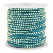 Faux suede with rhinestones 3mm Gold-Petrol Green
