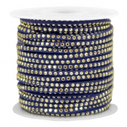 Faux suede with rhinestones 3mm Gold-Dazzling Blue