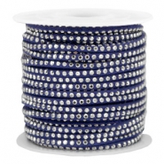 Faux suede with rhinestones 3mm Silver-Dazzling Blue