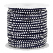 Faux suede with rhinestones 3mm Silver-Midnight Blue