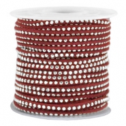 Faux suede with rhinestones 3mm Silver-Port Red