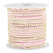 Faux suede with rhinestones 3mm Gold-Pastel Light Pink