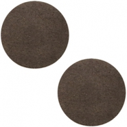 DQ leather cabochons 12mm Dark Vintage Brown